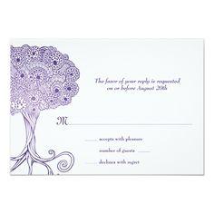 Shop Ornate Tree of Life Purple Bat Mitzvah RSVP created by mishpocha. Luau Invitations, Bat Mitzvah Invitations, Invitation Paper, Personalized Invitations, Camp Wedding, Wedding Ideas, Purple Backgrounds, Bright Purple, Response Cards