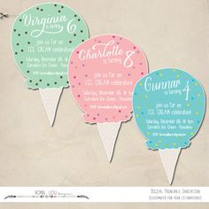 ice cream invitation - ice cream party - DIY - modern simple kids birthday - baby shower - digital printable - cut out - boy - girl by VonnLouDESIGNS on Etsy https://www.etsy.com/listing/186335655/ice-cream-invitation-ice-cream-party-diy
