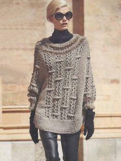 Вязание крючком и спицами - Пончо-пуловер выпуклым узором