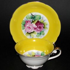 Occupied Japan Yellow Floral Teacup and Saucer