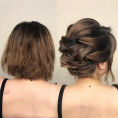 Short Brunette Haircuts and Hairstyles Korte brunette-kapsels en -stijlen Formal Hairstyles For Short Hair, Short Hair Cuts, Easy Hairstyles, Hairstyle Ideas, Wedding Hairstyles For Short Hair, Short Bob Updo, Short Hair Wedding Styles, Short Curly Hair Updo, Perfect Hairstyle