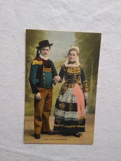 Antique French hand-tinted photo-postcard, Quimper couple in traditional costume, folklore, folk art 1910s' Photo Postcards, Postcard Size, Folklore, French Antiques, Marie, France, Costumes, Traditional, Couples