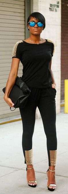 Lose the sunnies, and a pair of black suede pumps to make the studs really POP