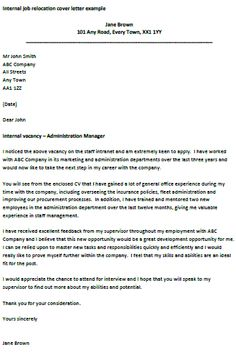 internal job application cover letters