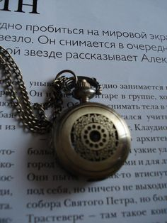 Necklace Pendant Pocket Watch quartz Gift Chain by Azuraccessories, $8.55...love the Russian in the background