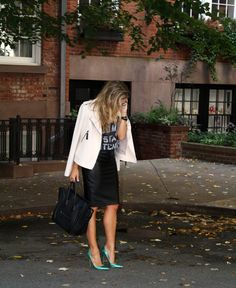 Ann Taylor Leather Skirt and Bomber Jacket, Work Wear,