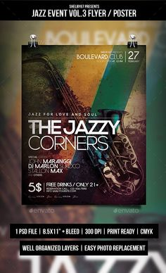 Jazz Event Flyer / Poster Vol.3 — Photoshop PSD #jazz party #design • Available here → https://graphicriver.net/item/jazz-event-flyer-poster-vol3/10550243?ref=pxcr