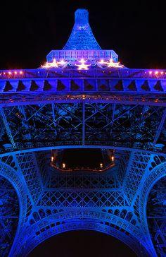 Eiffel Tower - Paris    Paris celebrated the French EU presidency illuminating blue the Eiffel Tower