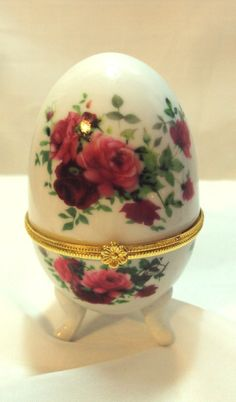 Vintage Hinged Egg Trinket Box with by DeesEnchantedCottage