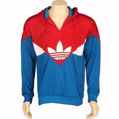 Adidas Colorado 1/2 Zip Up Hoody in university red and dark royal. $74.99