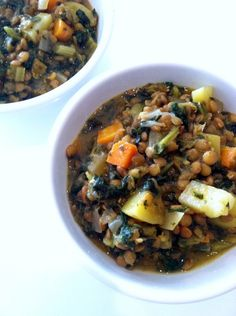 This soup is a delicious and nutritious one pot meal loaded with fiber and protein from kale, lentils, and potatoes.