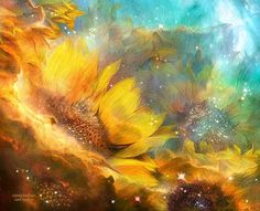 Celestial Sunflower by Carol Cavalaris Growing with all The healing  Power  Mystery Majesty And infinite Beauty Of the Universe.    Celestial Sunflowers prose by Carol Cavalaris © Sunflowers growing in a galaxy of stars. I've always thought within every flower there is a universe of  healing beauty that is mysterious, majestic, and infinite and so I have created a collection called 'Celestial Gardens',  inspired by and combining flowers with Nasa space images.