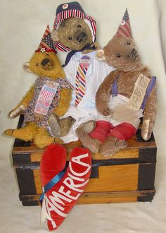 "Family Photo. 15"", 20"" and 18"" mohair Patriotic bears. Brady Bears Studio."