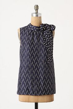 Wrap Around Blouse #anthropologie, $98--I don't usually like froufrou scarf details, but I love the combo of polka dots and dashes in navy blue and white.