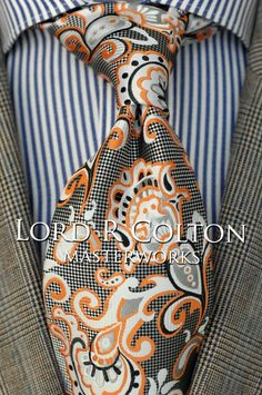 Lord R Colton Masterworks Tie - Pisaq Silver & Orange Silk Necktie -New Sharp Dressed Man, Well Dressed Men, Mens Fashion Suits, Mens Suits, Men's Fashion, Fashion Tips, Tie Styles, Tie And Pocket Square, Suit And Tie