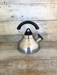 Tea Kettle Teapot Vintage Mid Century Metal Tea Kettle Stainless Steel Kettle Silver Whistling Tea Kettle Retro Teapot Mid Century Kitchen by TheDustyOldShack on Etsy