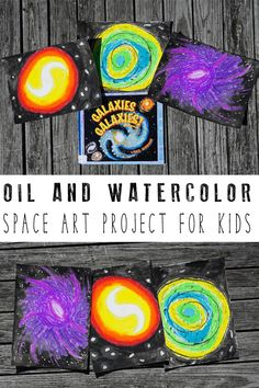 A simple space inspired art project for kids to do with oil pastels and watercolours to create a stunning and simple galaxy. Informations About Space Themed Oil and Watercolour Art Project for Kids Pi Space Activities For Kids, Space Crafts For Kids, Fun Arts And Crafts, Science For Kids, Stem Activities, Projects For Kids, Art For Kids, Art Projects, Stem Projects