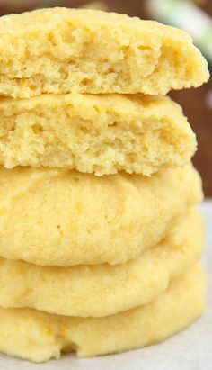 Double Lemon Pudding Cookies Recipe ~ The softest & chewiest cookies you'll ever eat! Packed full of lemon flavor for a lightened, skinny treat.