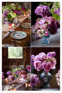 Colors, flowers, place settings.....love! #tablescapes #flowers #weddings