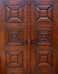 Door with Carved Panels - La Puerta Originals Wooden Main Door Design, Double Door Design, Room Door Design, Interior Design Living Room, Southwestern Doors, Door Window Covering, Theater Room Decor, Custom Interior Doors, Wood Front Doors