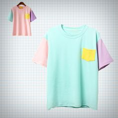 Basic+pocket+t-shirt+with+colourblock+design,+available+in+pale+pink+and+pale+turquoise/mint.  Measurements: Length+-+60cm Shoulder+-+44CM++ Chest+-+98cm Sleeves+-+19CM