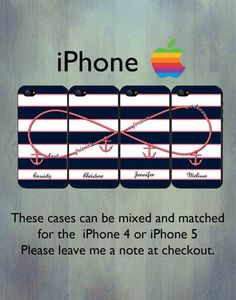 Nautical Infinity Best Friends Forever and Ever iPhone case - Personalized Coral Anchor iPhone 4 or iPhone 5 Case, FOUR Case Set on Etsy, $44.99