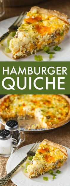 Hamburger Quiche Hamburger Quiche - Creamy, cheesy and so delicious! This easy brunch recipe is made with a secret ingredient you might not expect to find. Spinach Feta Quiche, Spinach Quiche Recipes, Hamburger Quiche Recipe, Hamburger Egg, Easy Brunch Recipes, Breakfast Recipes, Dinner Recipes, Breakfast Casserole, Beef Recipes