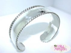 Monogrammed Sterling Silver Rope Edged Cuff Bracelet