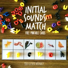 Printable Initial Sounds Match Cards - perfect for literacy centre activities you clever monkey Eyfs Activities, Nursery Activities, Alphabet Activities, Writing Activities, Jolly Phonics Activities, Teaching Resources, Learning Phonics, Children Activities, Learning Letters
