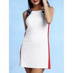 Trendy Sleeveless Scoop Neck Star Print Dress For Women