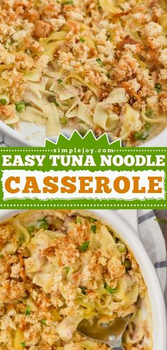 You are only 4 steps away from this family-friendly dinner recipe! This tuna casserole with egg noodles is the perfect comfort food on busy weeknights. Make-ahead and freezer options for this easy meal included! Tuna Noodle Casserole Recipe, Casserole Dishes, Thanksgiving Dinner Recipes, Healthy Weeknight Meals, Quick Easy Meals, Lunch Recipes, Food Processor Recipes, Egg Noodles, Freezer