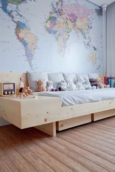 Boy bedroom decor - Don't go with a bed that's too big for your space. A little room with a king bed will probably be too cramped. In addition, it limit the amount of room you might have for other furniture without cluttering your home. Kid Spaces, Boy Room, Child's Room, Kids Bedroom, Kids Rooms, Room Kids, Bedroom Decor, Bedroom Ideas, Children Playroom
