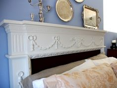 Fireplace mantle as a headboard. Time to scour a flea market or two for something fabulous I could rehab.