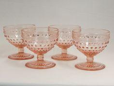 Anchor Hocking Pink Hobnail Sherbets Set of 4 Pink Depression Glass - Etagere Antiques, Vintage, Collectibles