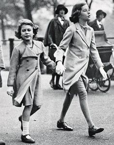 Princess Elizabeth with friend Sonia Berry, a girl she met in 1930 out playing behind the London home of her parents