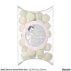 Baby Shower Pastel Pink Vintage Little Girl Chewing Gum Favors