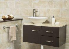 Moderno gabinete empotrable color ébano. Wash Basin Cabinet, Corner Storage, Tiny Bathrooms, Bath Vanities, Bath Decor, Bathroom Accessories, New Homes, Vanity, Design
