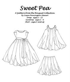 Sweet Pea  Susan Stewart Designs  Love the bodice on the Redondo-type skirt. And many of her patterns have interchangable bodice/sleeve/skirt sections. Love that.