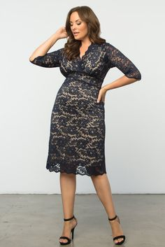 Wedding season is in full swing! If you've RSVP'd to a formal affair, you'll need a great dress to wear. Our plus sized Scalloped Boudoir Lace Dress is designed with soft lace that is comfortable and itch-free. A lovely v-neckline and 3/4 length lace sleeves add a classic touch. Available in other colors. Made exclusively for women's plus sizes. Made in the USA. Shop our entire collection of plus size women's clothing at www.kiyonna.com. #weddings #plussizedresses