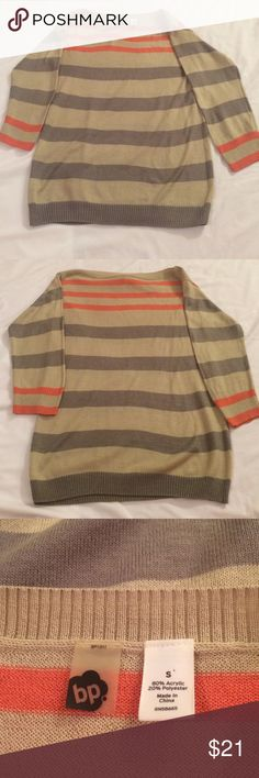 BP striped sweater Tan, gray and coral striped sweater• the collar is boatneck• size small BP Sweaters Crew & Scoop Necks