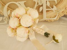 Ivory Peony Bud Wedding Bouquet -Peony Wedding Bouquet Bridal Bouquet Groom's Boutonniere Ivory Satin Ribbon