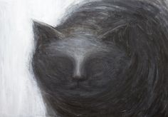 The Black Cat : American Gothic literature theme dark animal symbolism painting, ('The Black Cat' :Edgar Allan Poe),black and white, abstract animal portrait, acrylic painting