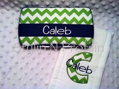 CALEB - Ready to Ship RTS Green Chevron w Applique Initial Name Embroidered Boutique Burp Cloth & Travel Baby Wipes Case Set Boy Baby Wipe Case, Wipes Case, Green Chevron, Riley Blake, Traveling With Baby, Having A Baby, Burp Cloths, Baby Ideas, Little Boys