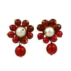 Chanel Maison Gripoix  Pearl and Ruby Earclips 1930s