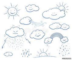 Set of cute cartoon clouds and sun with rain, wind, thunder, rainbow, snow, sunset. Hand drawn vector illustration.