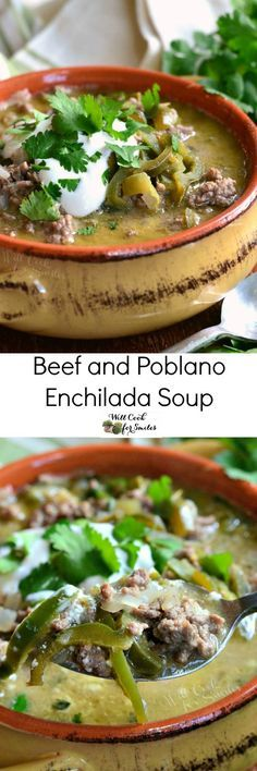 Beef and Poblano Enchilada Soup. Wonderful beef enchilada soup that's loaded with veggies and poblano peppers. #soup #comfortfood