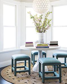 Unique dining set with statement stools! #DiningRoom