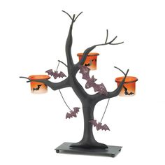 $21.00 Sparkling And Eerie Halloween Bat Candle Holder