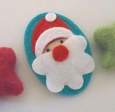 NO SLIP Wool felt hair clip -Santa Father Christmas -teal