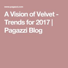 A Vision of Velvet - Trends for 2017  | Pagazzi Blog